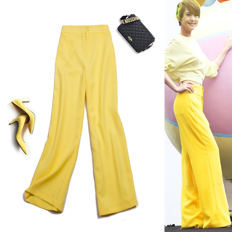 Spring autumn woman OL high waist slim yellow loose wide leg pants Office Lady straight pants Elegant work pants suit trousers