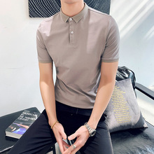 Mens 2019 new lapel short-sleeved POLO shirt Korean Slim handsome solid color youth summer