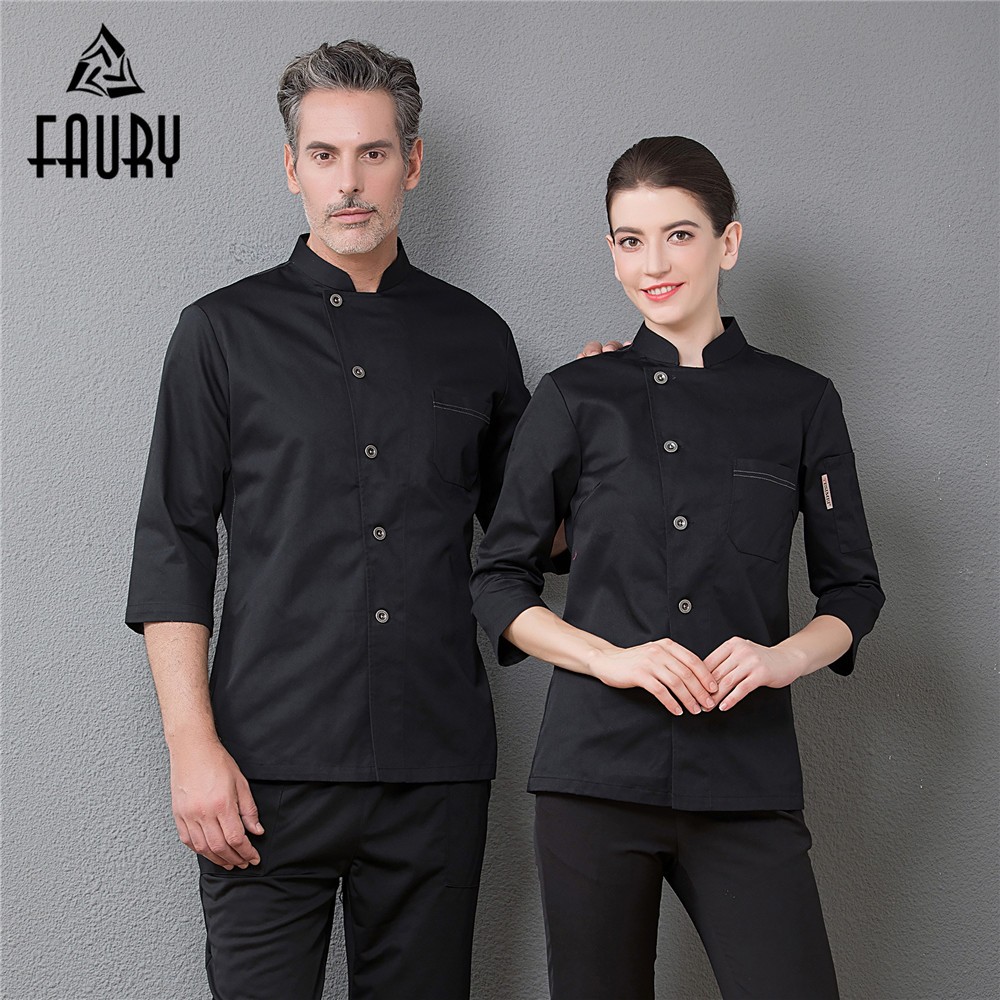 Men's Breathable Mesh Patchwork Back Single Breasted Top Restaurant Chef Cook Suit Catering Waiter Coat Barbershop Work Uniforms