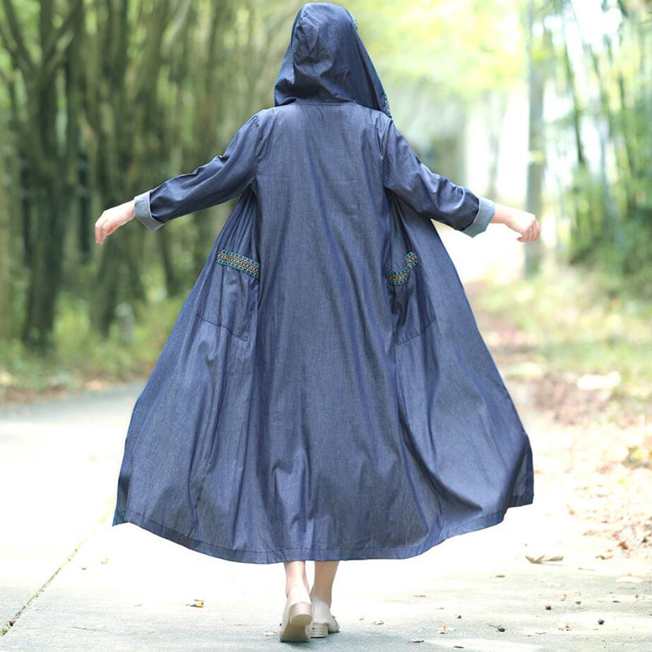 2019 Spring autumn women long-sleeved vintage long denim hooded   trench   coat casual loose denim cloak coat r1545