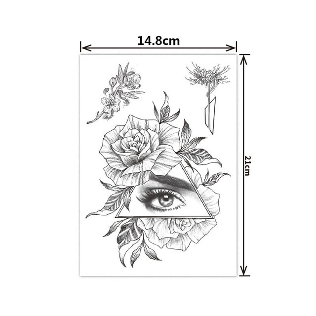 Fashion Black White Flower Tattoo Sticker Women Body Art Peony Rose Waterproof Water Transfer Temporary Tattoo 2