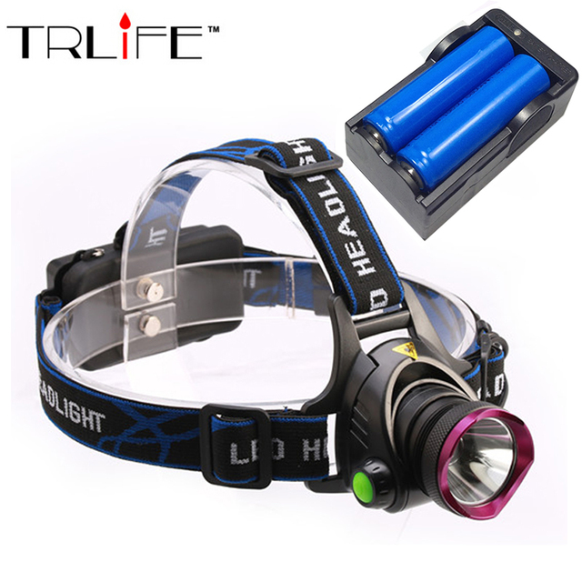 5000 Lumens LED Headlamp CREE XM-L T6 LED  Headlight  Fishing Light Head Lamp Light + 2*18650 Battery + Charger