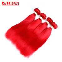 ALLRUN Gerade Peruanische Haar Bundles # Rote Farbe Ein Stück Doppeleinschlaghaarverlängerung Nicht Remy Kostenloser Versand