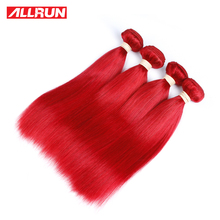 ALLRUN Peruvian Straight Human Hair Bundles #Red Color One Piece Double Weft Hair Extension Non Remy Free Shipping