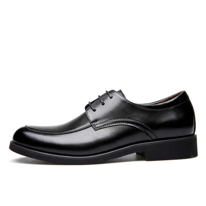 حذاء رجالي من الجلد الطبيعي من ROXDIA حذاء رسمي للعمل للرجال بدون كعب حذاء أكسفورد للرجال RXM063 مقاس 39-44