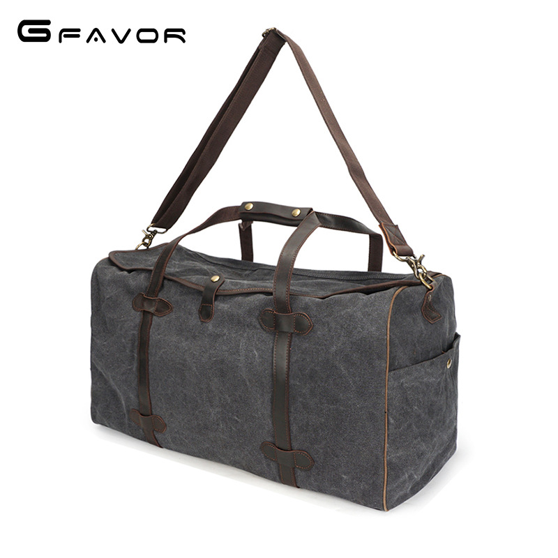 Fashion canvas Leather men travel bag Carry on Luggage bag men canvas Duffel bag Overnight Weekend bag big Tote Handbag Black augur new canvas leather carry on luggage bags men travel bags men travel tote large capacity weekend bag overnight duffel bags