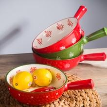 European-style Hand-painted ceramic underglaze color 8 inch handle large ceramic bowl Anti-hot baked rice bowl Fruit salad bowl