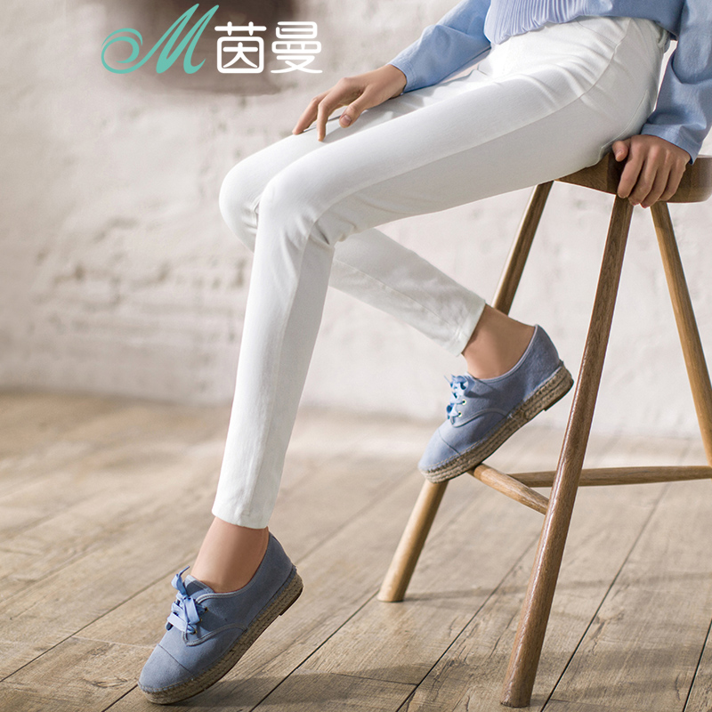 INMAN Women's Cotton Elastic Waist Leggings Autumn Trousers Causal Pant