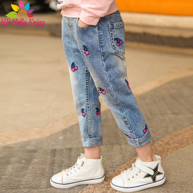 HE Hello Enjoy girls jeans 2017 brand spring baby skinny jeans for girls kids Cartoon cherry embroidery pants children trousers