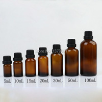 5ml 10ml 15ml 20ml 30ml 50ml 100ml Brown Glass Bottle Black Screw Cap Essential Oil Bottle