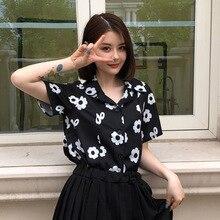 2019 Blouse Women Retro Summer Chiffon Flower Print Slim Short Sleeve Lapel Single Buckle Casual
