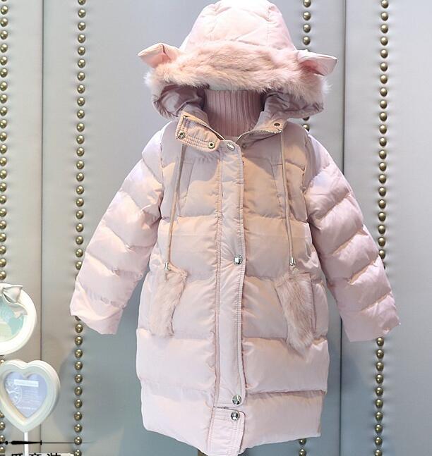 2016 Winter children warm clothes girls coats fashion ear fake fur hooded zipper thick hand cotton long cotton girl coat
