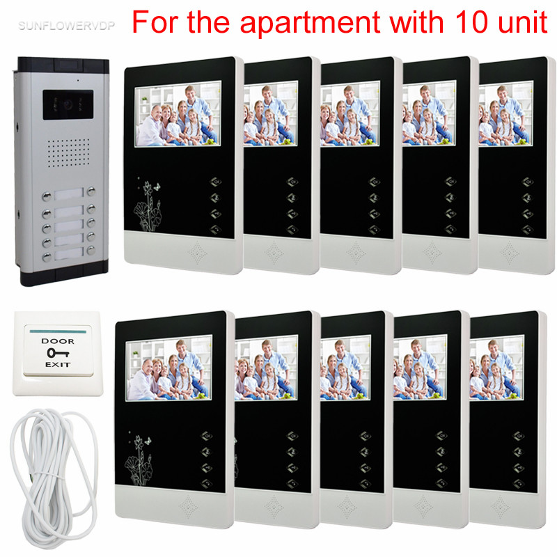 10 Apartments Home Video Door Phone 4.3inch Color Screens Video Intercom System Night Vision CCD Door Bell With Camera 10 Keys
