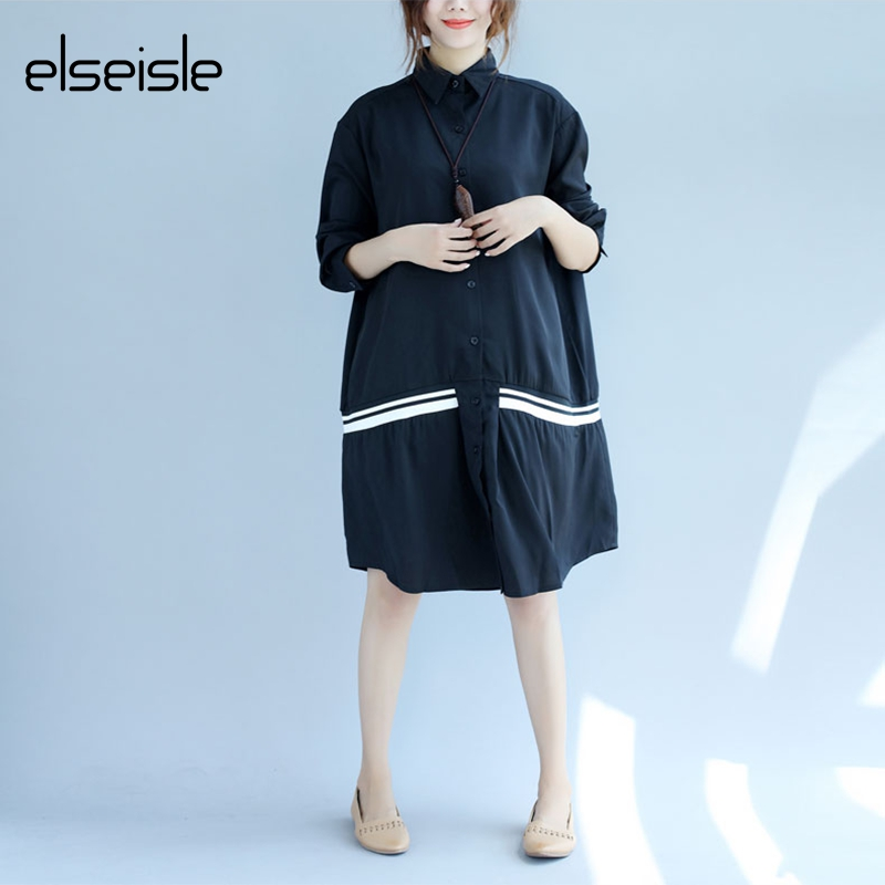 6b6a0490e elseisle Korean Style Plus Size Blouse Shirt Women Black And White  Oversized Blouses Long Sleeve Korean
