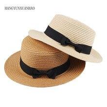 2019 simple Summer Parent-child Beach Hat Female Casual Panama Lady Brand Women Flat brim Bowknot Straw cap girls Sun