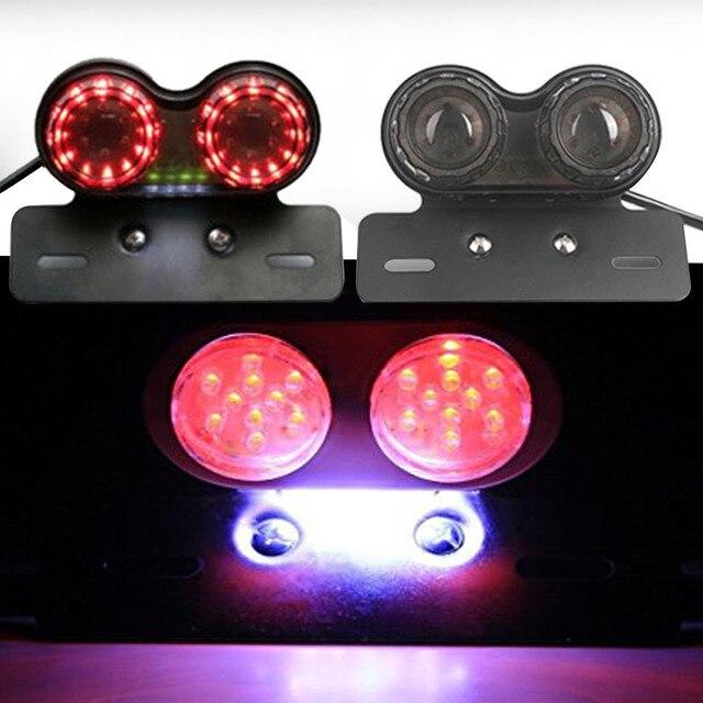 Vehemo tylna lampa do motocykla Luz LED Moto lekka plastikowa DC 12V faros ogólna tablica rejestracyjna Stop hamulec luces para ATV Chopper