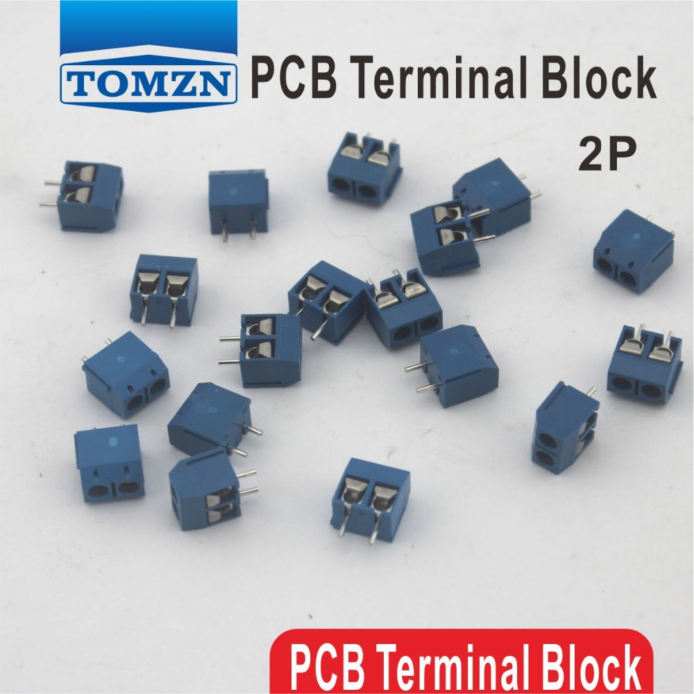 цена 100 pcs 2 Pin Screw blue PCB Terminal Block Connector 5mm Pitch
