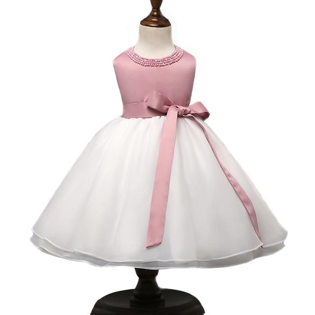 56290e808 baby Pink White wedding dresses for little girl pearl flower girls ...