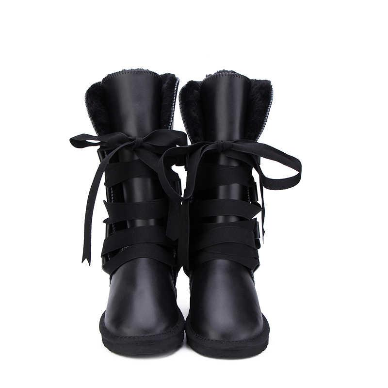 MBR FORCE australie classique Botas Mujer véritable cuir de vachette femmes bottes de neige fourrure bottes d'hiver imperméable femmes bottes longues