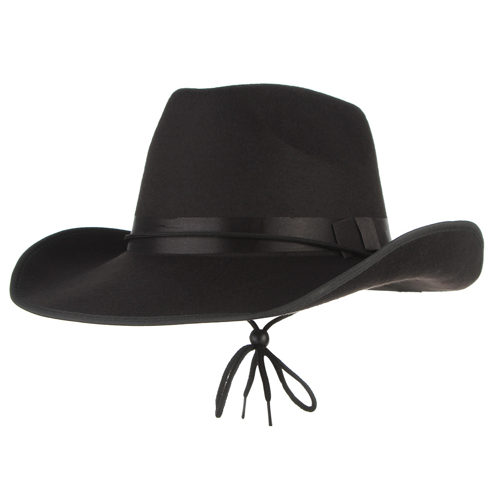 Men's Western Cowboy Hat Adult Male Pure Color Casual Cap Outdoor Fashion Leisure All-match Travel Holiday Crimping Caps H7185