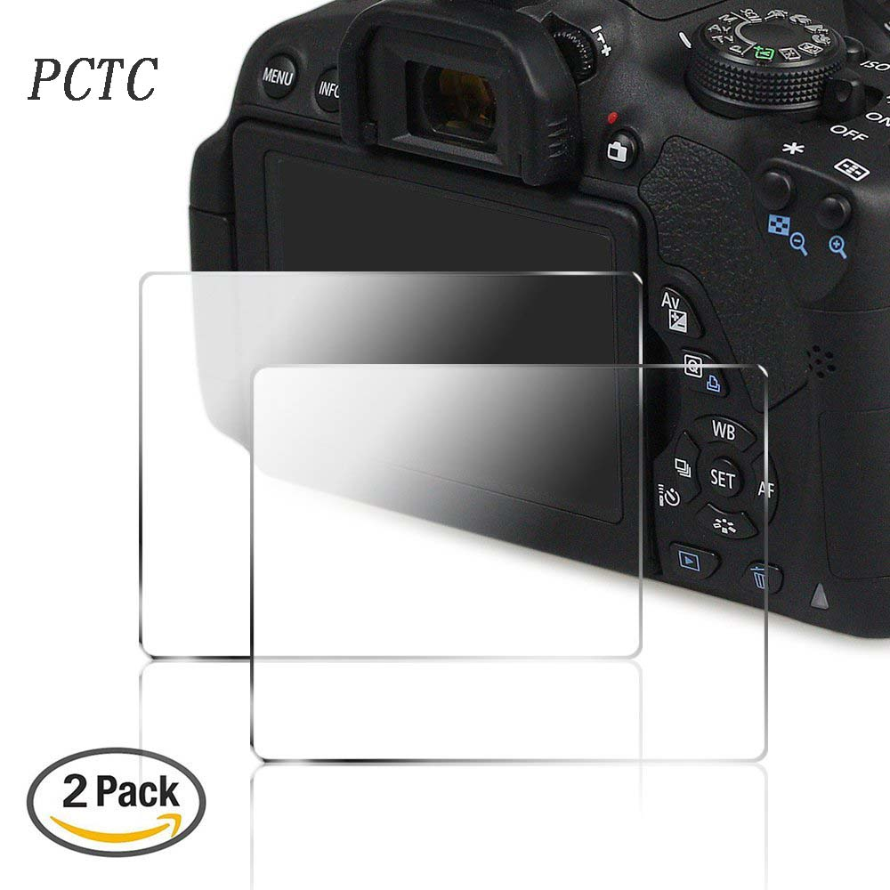 PCTC 2 Packs Camera Screen Protector for 700D 750D 760D T5i T6i T6S Anti scratch Anti