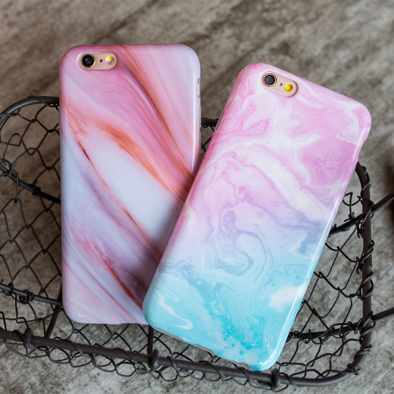 High Quality Protective Cotton Candy Swirl Marble Phone