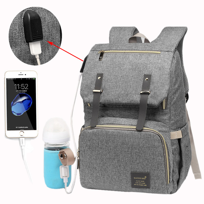Diaper Bag USB Baby Nappy Bag Mummy Daddy Backpack Large Capacity Waterproof Casual Laptop Bag Rechargeable Holder For BottleDiaper Bag USB Baby Nappy Bag Mummy Daddy Backpack Large Capacity Waterproof Casual Laptop Bag Rechargeable Holder For Bottle