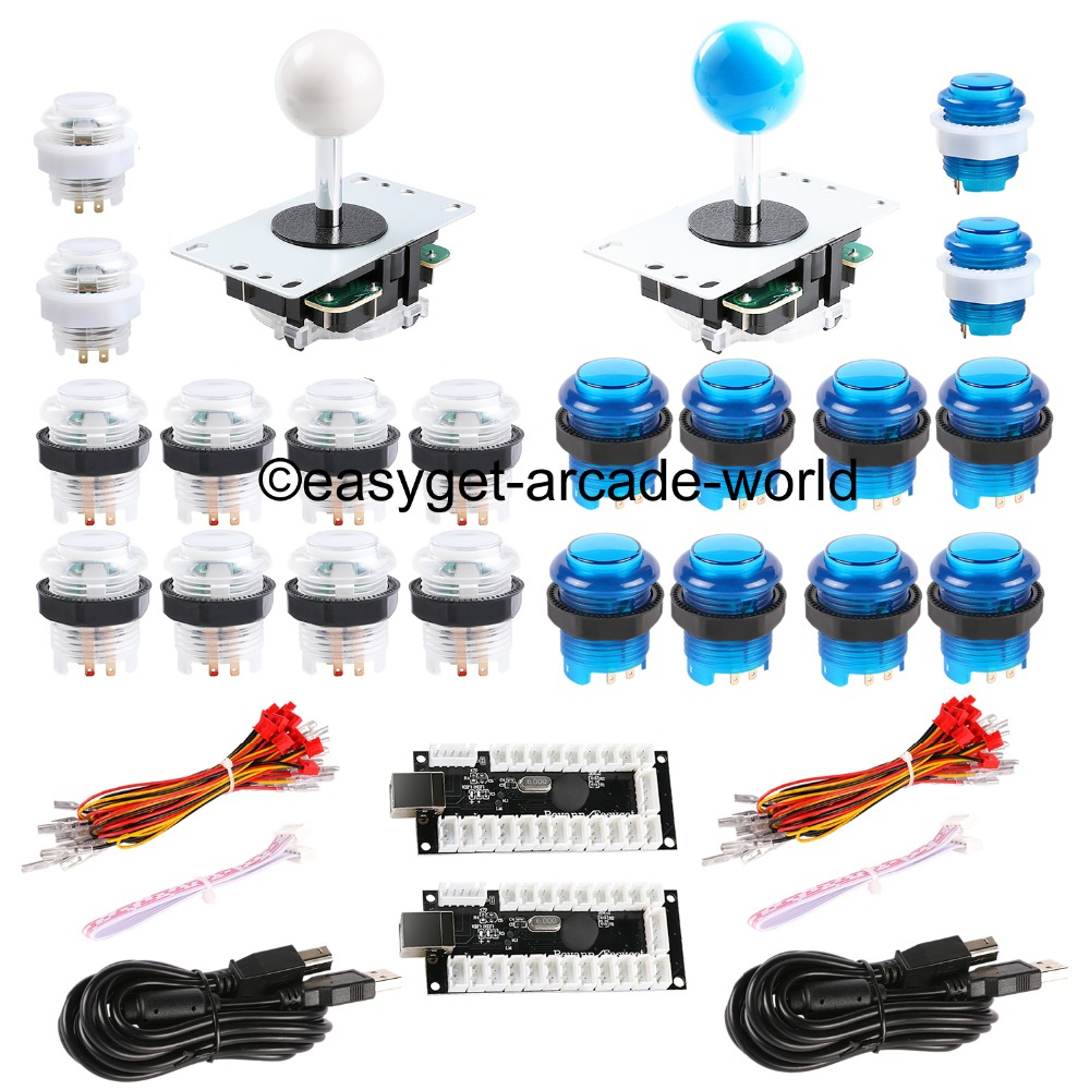 Arcade Games DIY Bundle Kits USB Encoder To PC Joystick 5 Pin Rockers + 20 x LED Illuminated Push Buttons For USB MAME Cabinet new arcade diy parts usb control panel diy bundle kits 2 x joysticks 20pcs led illuminated push buttons for mame