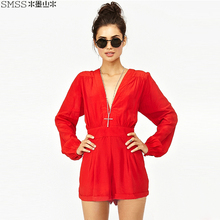 New 2016 High Waist Long Sleeve Sexy Deep V-neck Women's Chiffon Jumpsuits & Rompers, Black/Red
