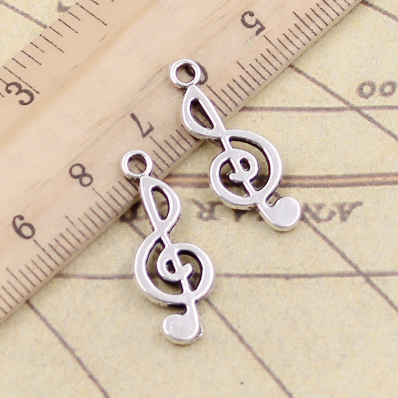 50PCS Tibetan Silver Music Notes Charms Pendant Necklace Crafts Jewelry 15*9MM