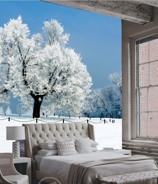Custom Print Winter Snow Scenery Wallpaper 3D Murals For Living Room