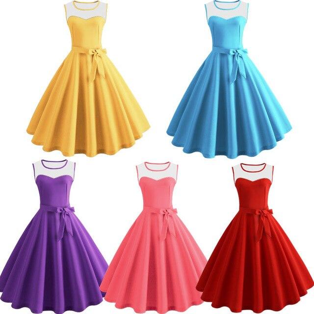 Для женщин летнее платье Хепберн 50 s 60 s ретро качели Винтаж платье трапециевидной формы Платья для вечеринок вечернее платье плюс Размеры