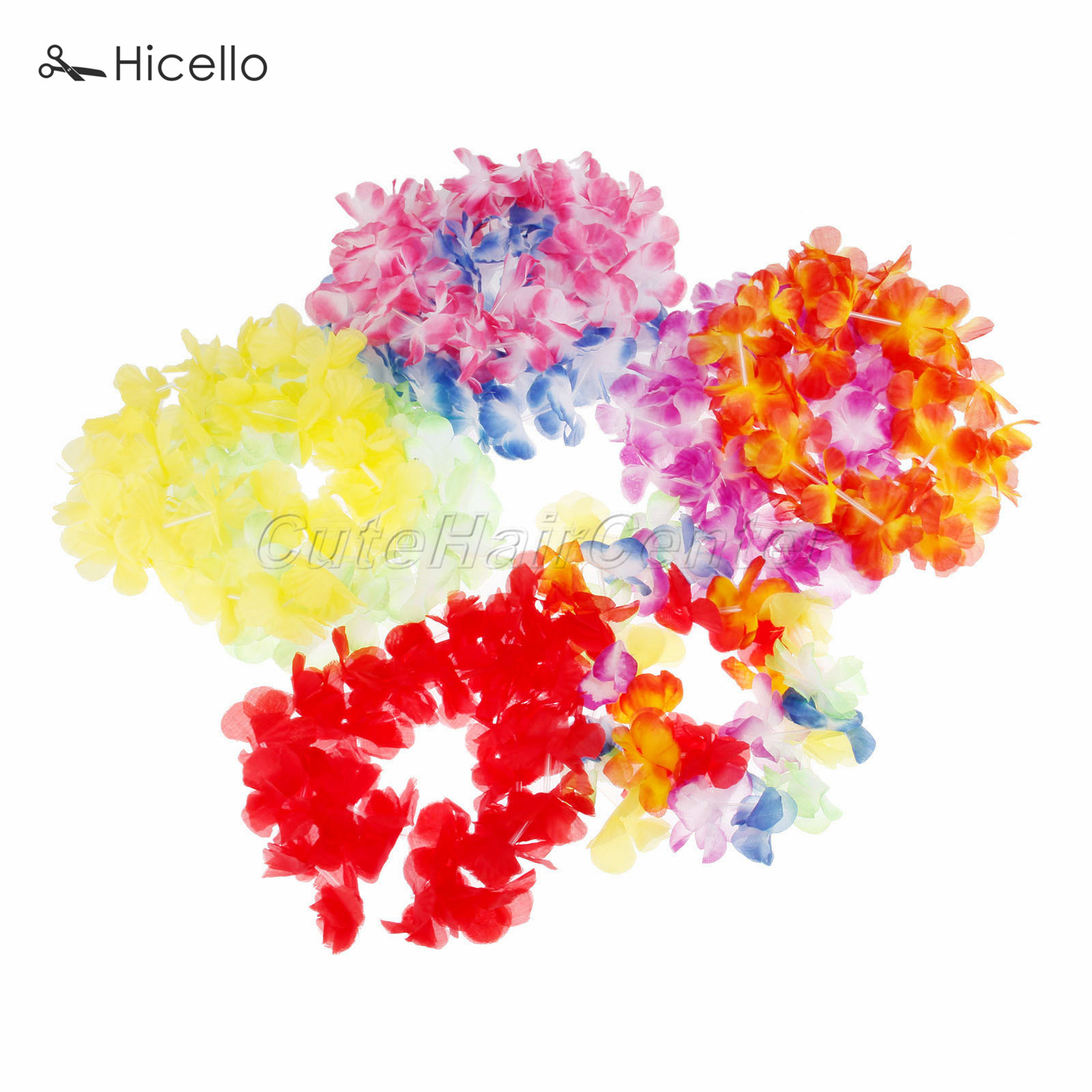 36PCS Hawaiian Flower Garlands colorful necklace Flowers String Vine Tropical Beach Luna Party supply Dacron parties Decoration