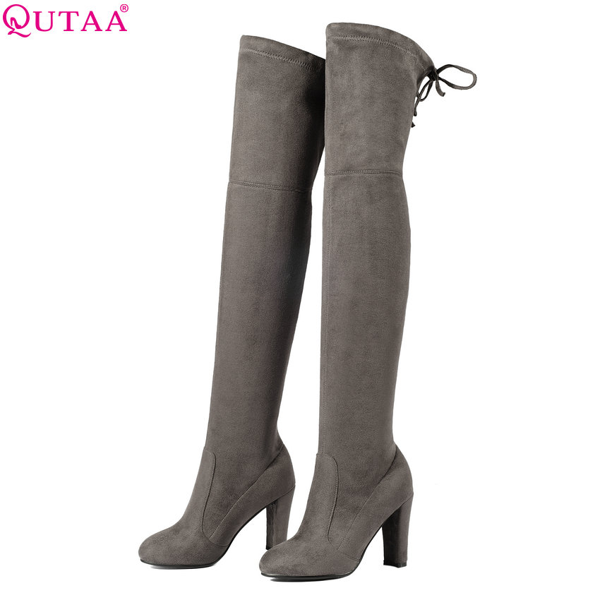 QUTAA 2018 Winter Warm Women Over The Knee Boots Keep Warm Short Pluch Fashion Sexy High Quality Motorcycle Boots Size 34-43