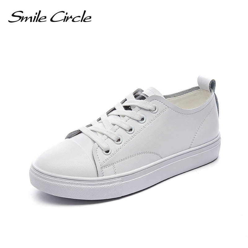 Smile Circle Genuine Leather Sneakers Women Flat Platform shoes New fashion Casual Shoes Women Couple Sneakers