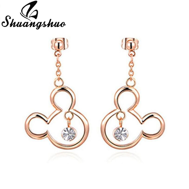 Shuangshuo Mickey and Minnie Stud Earrings for Women Korean Fashion Micky Mouse Silver Earrings Studs Animal Ladies Accessories