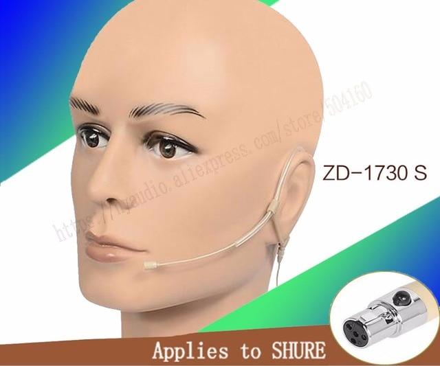 Beige Omni Directiviteit oorhaak Headset Microfoon voor Shure Draadloze mini XLR 4Pin
