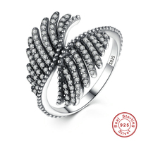 925 Sterling Silver PHOENIX FEATHER SILVER RING WITH CLEAR CUBIC Ring Women Mood Engagement Fine Jewelry