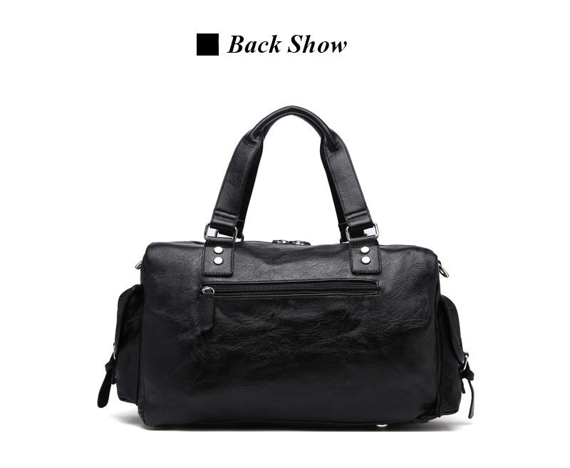 New Trend Mens PU Leather Sports Bag Outdoor Gym Large Capacity Sport Handbag Tote Bag Travel Fitness Duffle Bags For Male