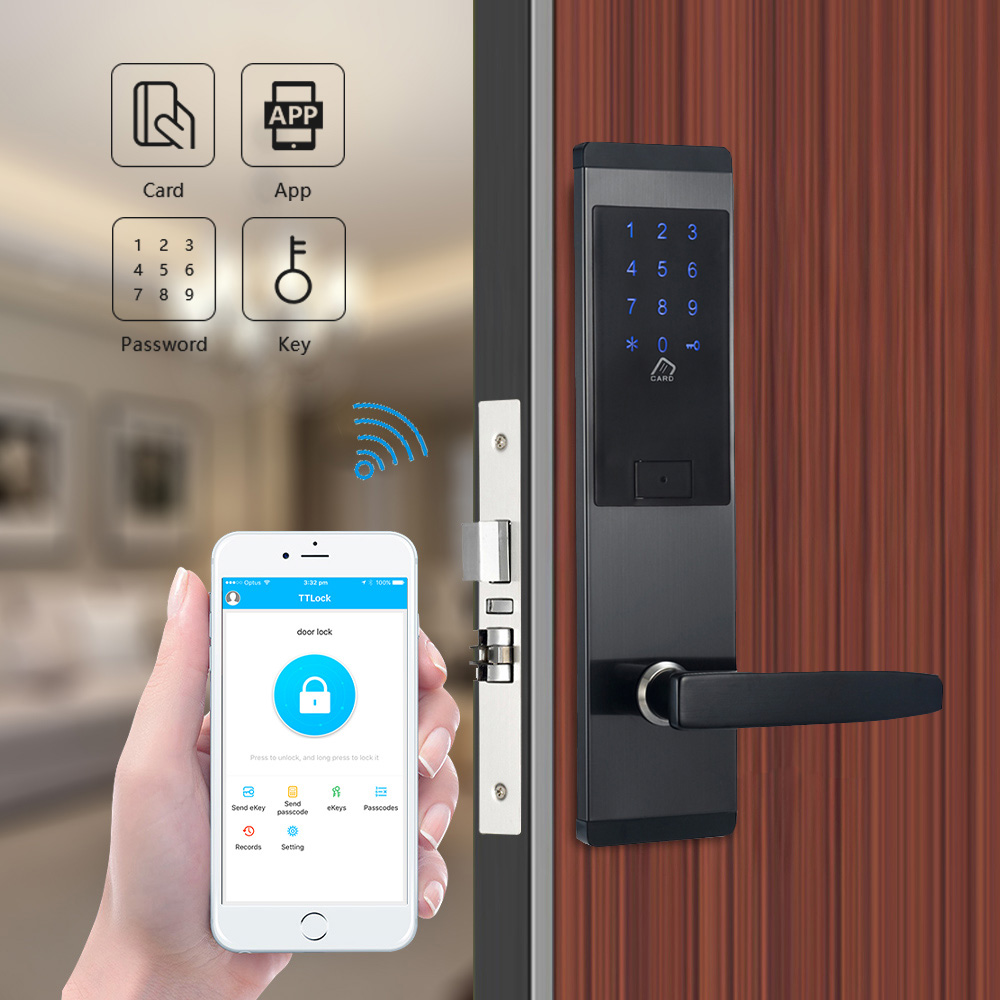 Security Electronic Door Lock Bluetooth App Wifi Phone Control Touch Screen Keypad Digital Code RFID Card