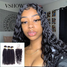 Brazilian Deep Wave Bundles With Closure 4*4 Free Part Lace 3 VSHOW Remy Human Hair
