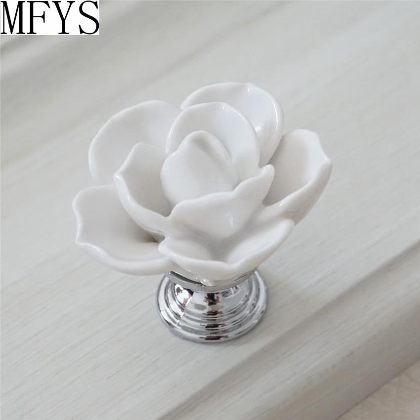 White Flower Knob Dresser Knobs Drawer Pulls Handles Silver   Kitchen  Cabinet Knobs Handle Ceramic Rustic 2d5fae9daf5b