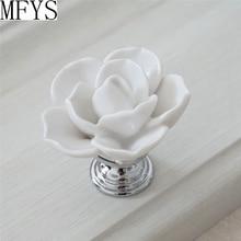 White Flower Knob Dresser Knobs Drawer  Pulls Handles Silver / Kitchen Cabinet Handle Ceramic Rustic Rose Lotus Hardware