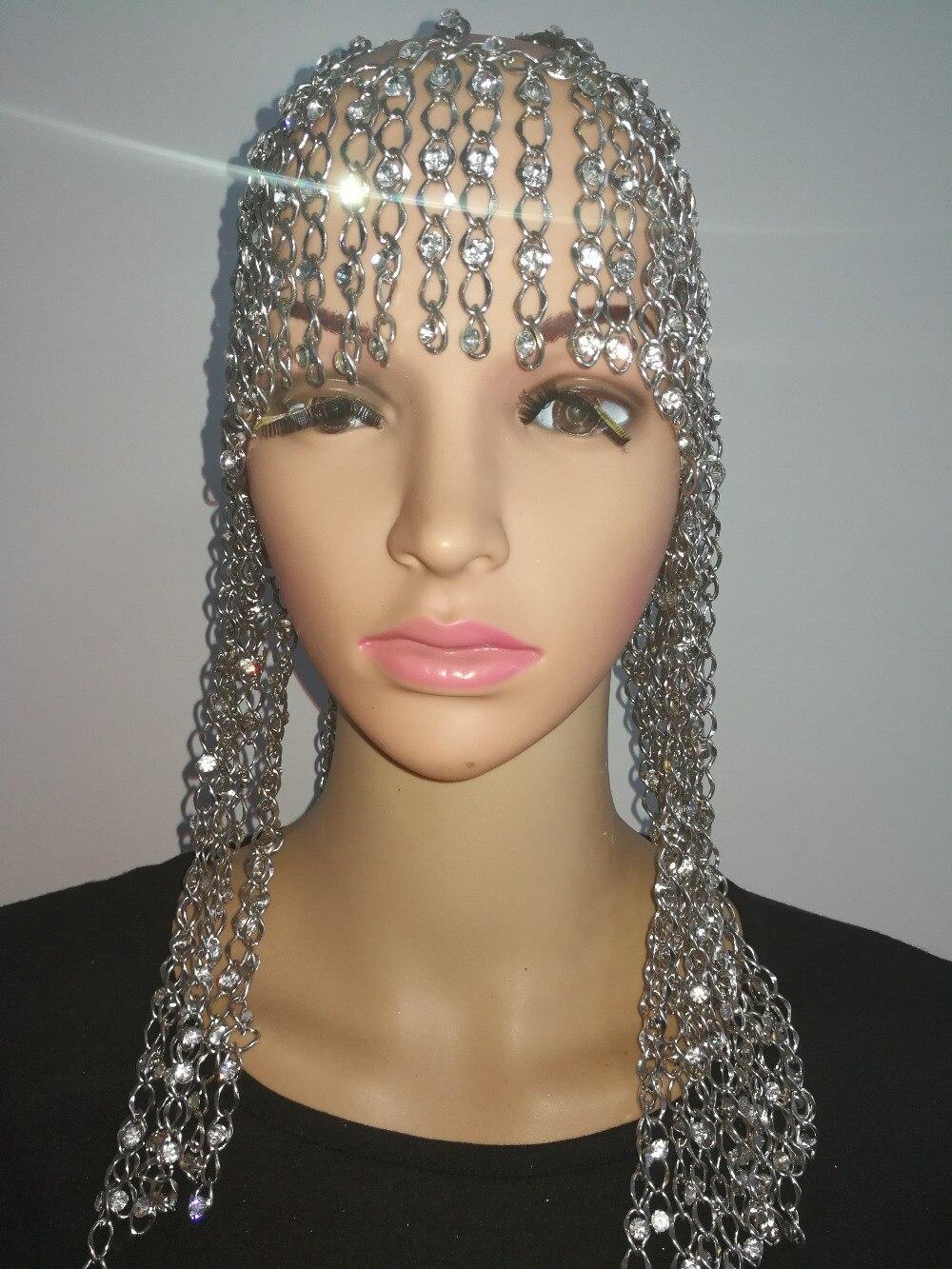 Nouveau Style de mode WRB969 brillant argent strass perles chaînes bijoux Cosplay Style strass chaînes tête cheveux bijoux