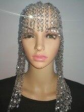 Nuevo estilo de moda WRB969 cuentas de diamantes de imitación plateadas brillantes, joyería de cadenas, estilo Cosplay, cadenas de diamantes de imitación, joyería para el cabello