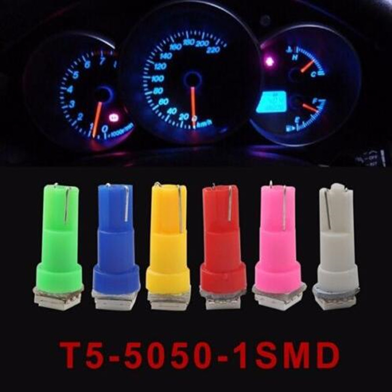 10x 24V 12V T5 1smd 5050 Car Dashboard Parking Interior Light Acessories Moto Fog Bulb Yellow/White/Red/Blue/Green/Pink/Ice Blue