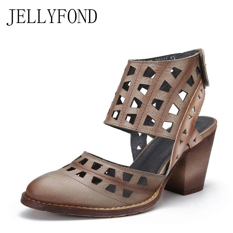 Здесь продается  Designer Gladiator Sandals Women Genuine Leather Summer Shoes Woman 2018 Vintage Pointed Toe Cage Bootie High Heels Sandals  Обувь