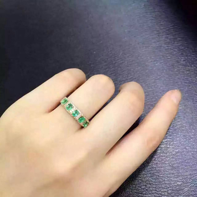 Natural green emerald  Ring Natural gemstone Ring S925 sterling silver trendy Elegant round array women wedding gift Jewelry