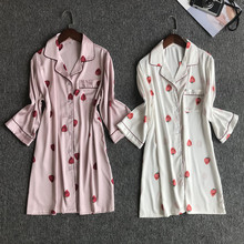 Women Nightgowns Sexy Fashion Strawberry Printed Satin Sleepwear & Sleepshirt Night Shirt Loose Homw Wear