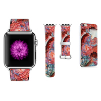 Graffiti Flower Band for Apple Watch 38mm 42mm 40mm 44mm Series 1 2 3 4 Strap for Iwatch Leather Bracelet Gift for IPhone Case